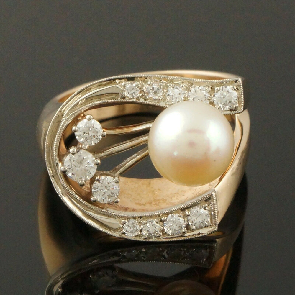 Retro Modernist Two Tone Solid 14K Gold, Pearl & Diamond Lady's Estate Ring1