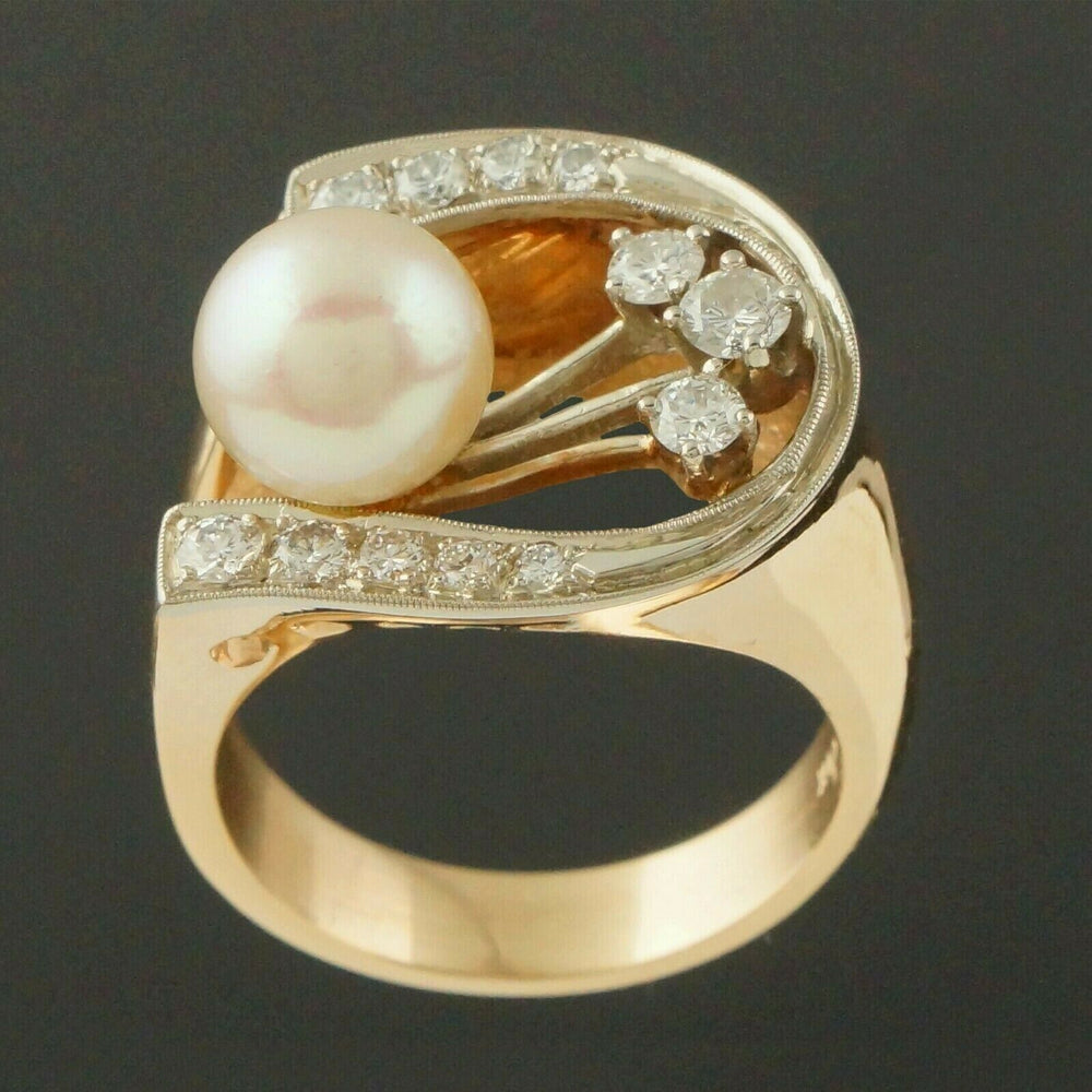 Retro Modernist Two Tone Solid 14K Gold, Pearl & Diamond Lady's Estate Ring3