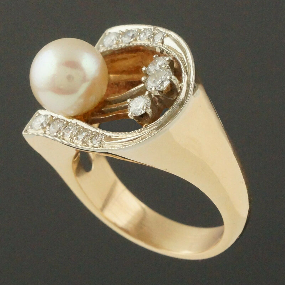Retro Modernist Two Tone Solid 14K Gold, Pearl & Diamond Lady's Estate Ring2