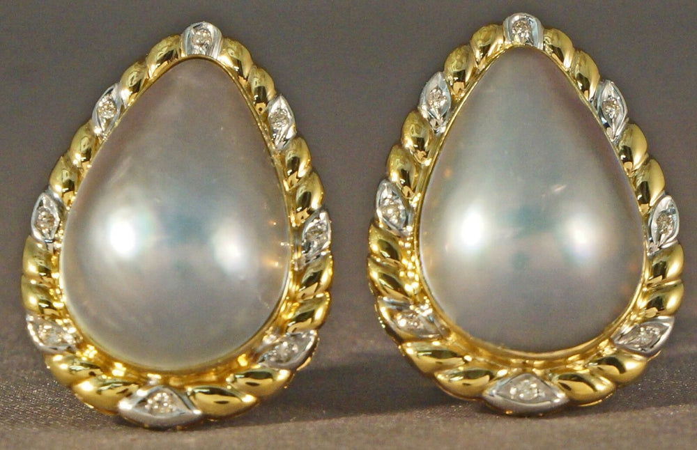 Magnificent Huge Retro 18K Gold, Pear Shaped Gray Mabe Pearl & Diamond Earrings