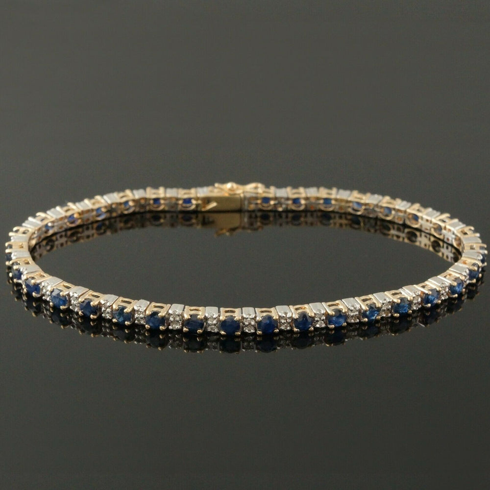 Retro Solid 14K Gold, 4.08 Cttw Sapphire & .68 Cttw Diamond Tennis Bracelet