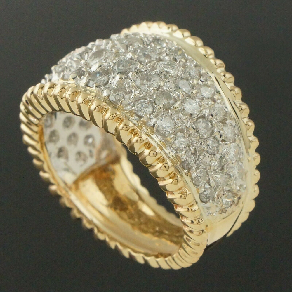 Two Tone Solid 14K Gold & 2.50 CTTW Diamond, Cigar Band, Estate Dome Ring
