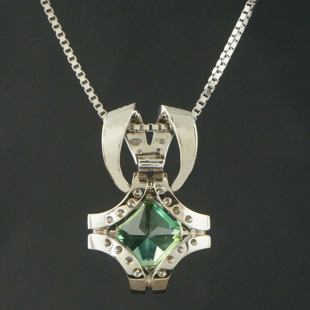 Solid 14K White Gold, 3.8 Ct Tourmaline & .47 CTW Diamond Pendant 15.5 Necklace Olde Towne Jewelers Santa Rosa CA6