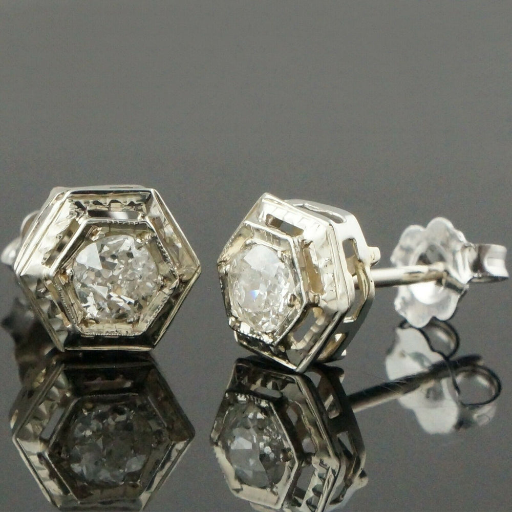 Solid 14K White Gold .44 CTW Old Mine Cut Diamond Estate Filigree Earrings Olde Towne Jewelers Santa Rosa CA