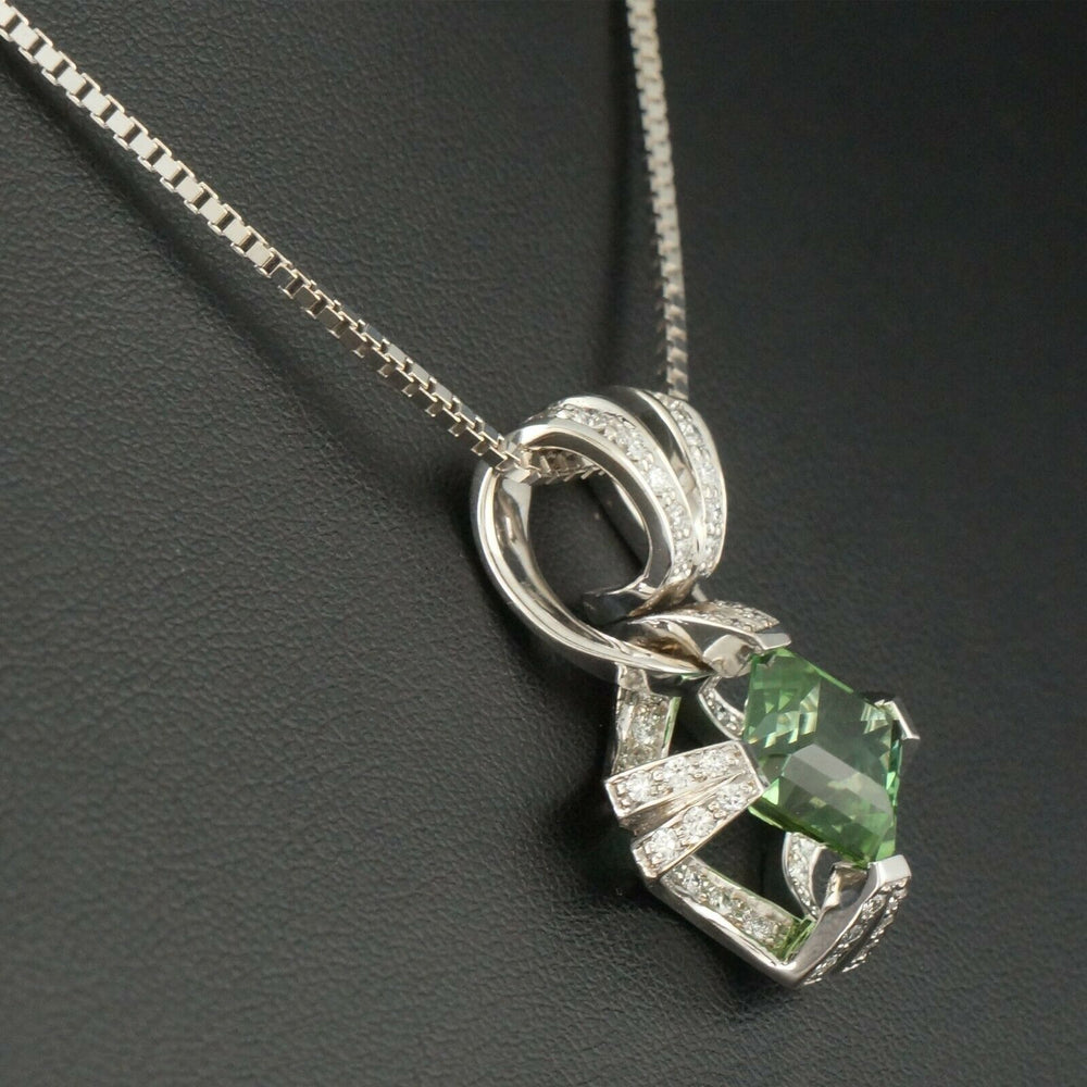 Solid 14K White Gold, 3.8 Ct Tourmaline & .47 CTW Diamond Pendant 15.5 Necklace Olde Towne Jewelers Santa Rosa CA4