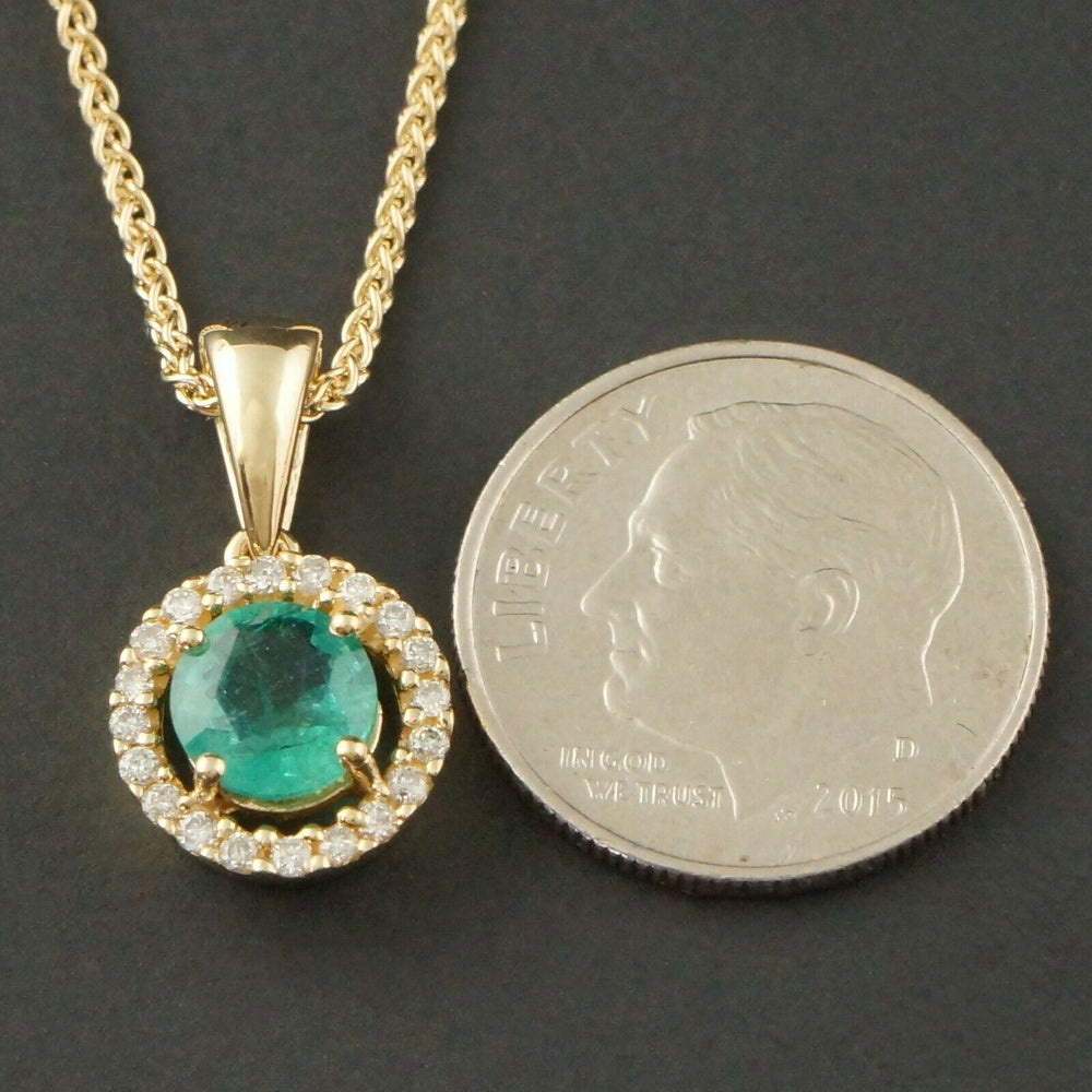 "Solid 14K Yellow Gold .80 Ct Emerald & Diamond, Round Halo Pendant 16"" Necklace"