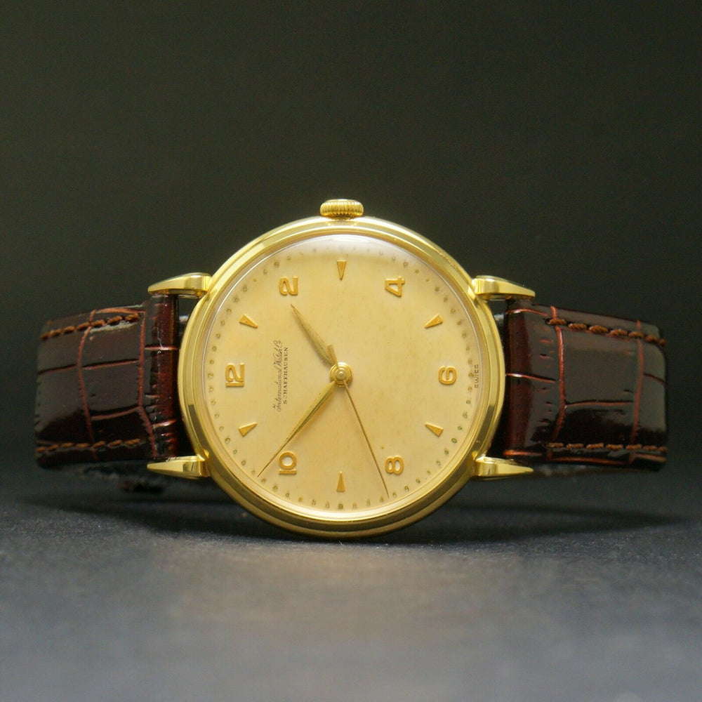 Large All Original Solid 18K Gold IWC Man's Fancy Lug Vintage Dress Watch