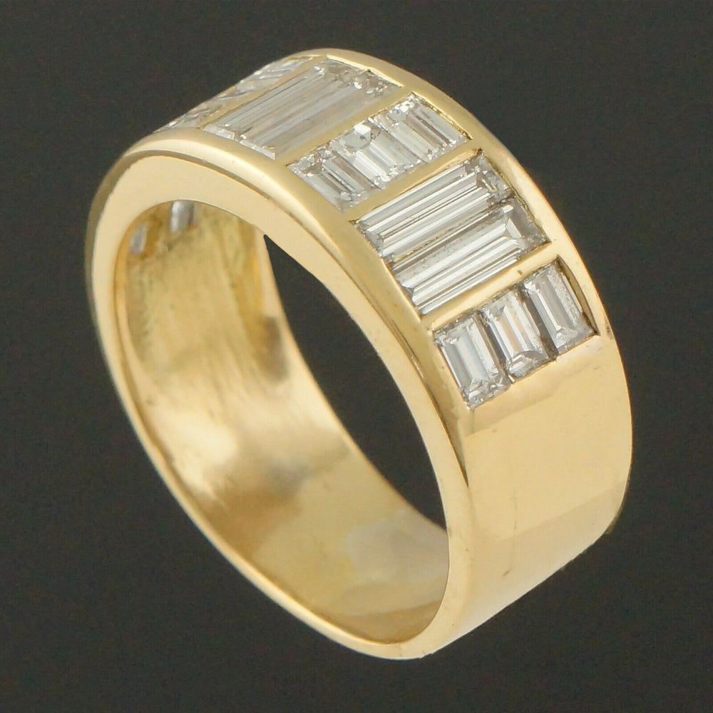 Solid 18K Gold & 2.46 CTW Baguette Diamond Wedding Ring, Anniversary Band
