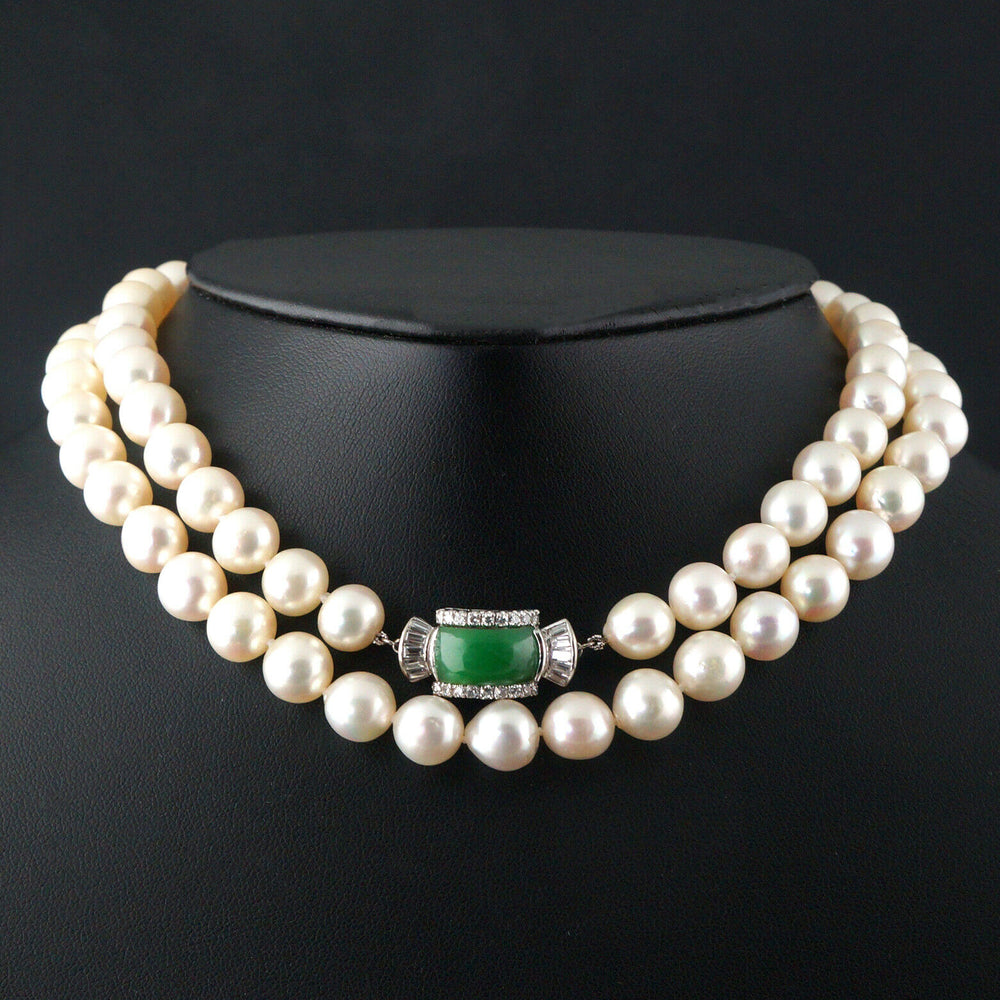 "Solid 18K Gold, Pearl, Jade & .76 Ctw Diamond Estate 30"" Single Strand Necklace"