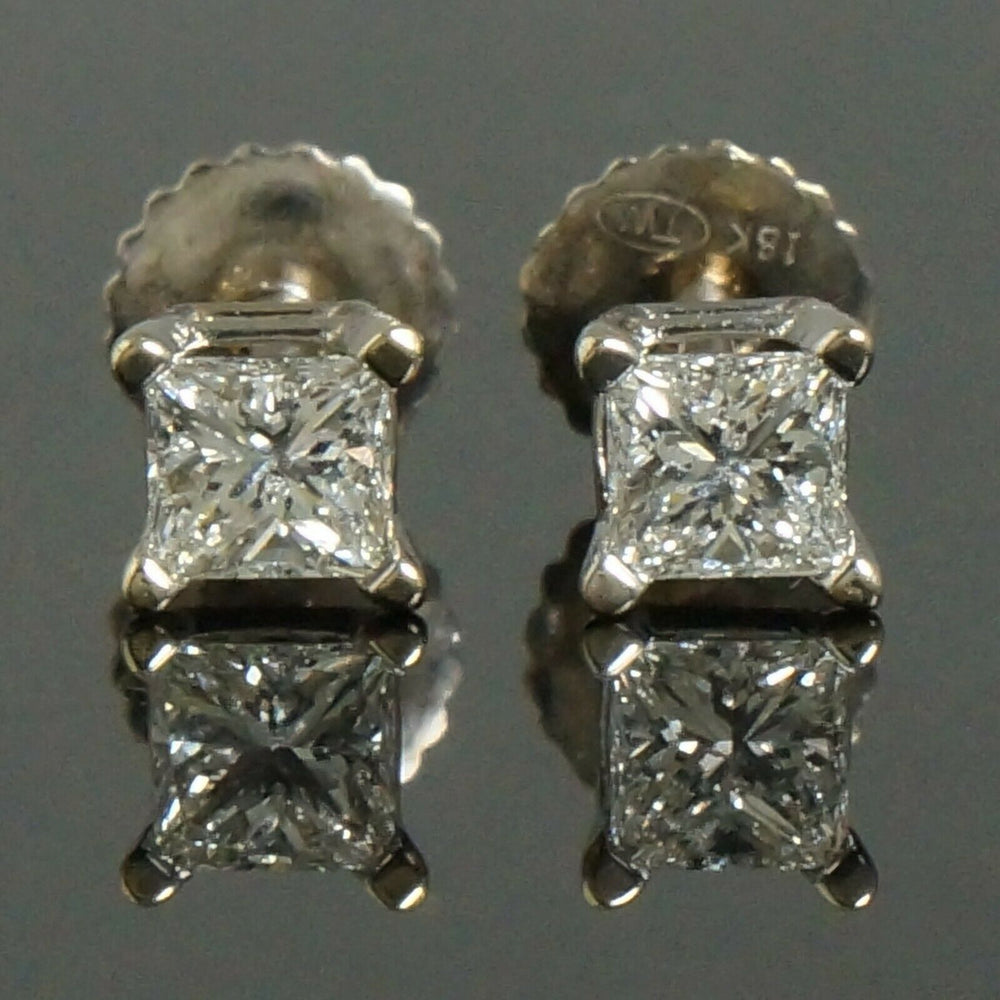 Solid 18K White Gold .56 CTW Princess Diamond Estate Screwback Stud Earrings Olde Towne Jewelers Santa Rosa CA3