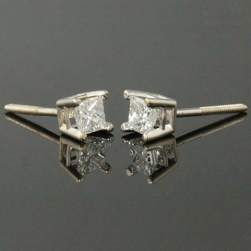 Solid 18K White Gold .56 CTW Princess Diamond Estate Screwback Stud Earrings Olde Towne Jewelers Santa Rosa CA4