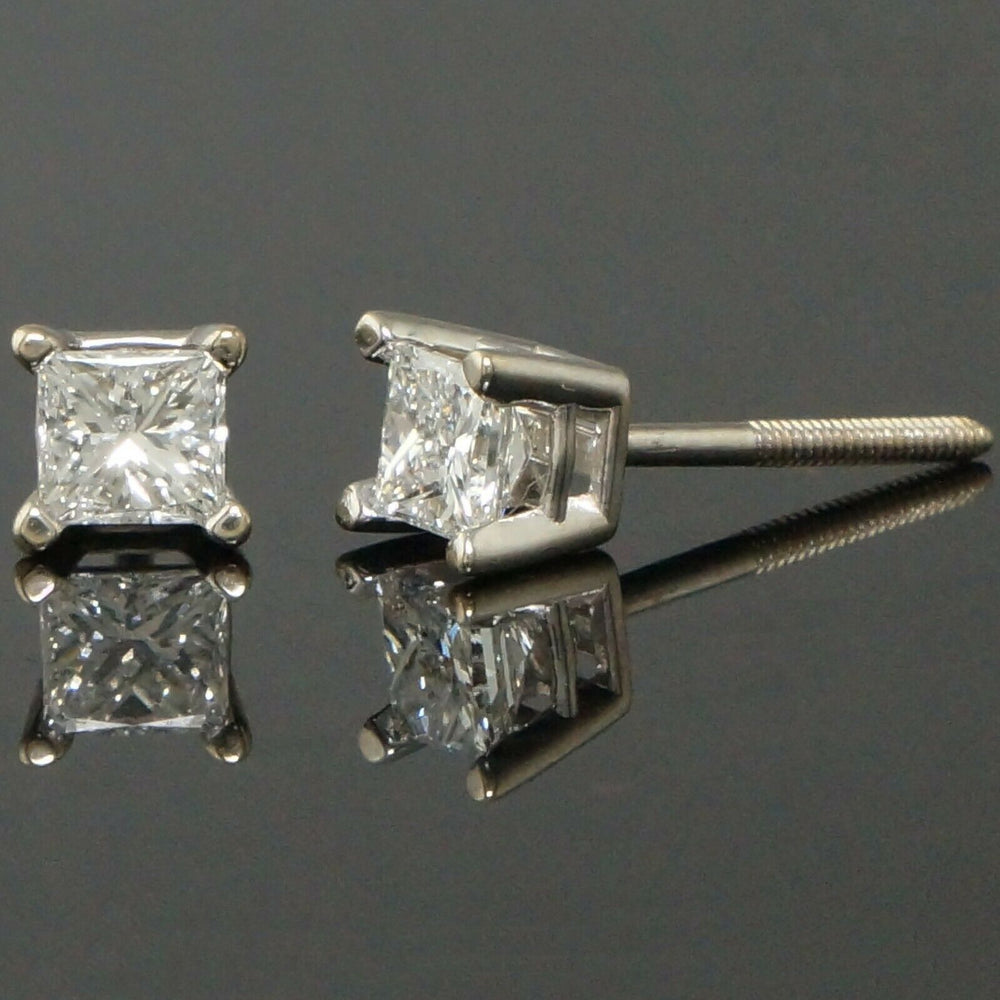 Solid 18K White Gold .56 CTW Princess Diamond Estate Screwback Stud Earrings Olde Towne Jewelers Santa Rosa CA2