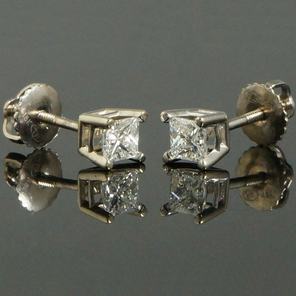 Solid 18K White Gold .56 CTW Princess Diamond Estate Screwback Stud Earrings Olde Towne Jewelers Santa Rosa CA5