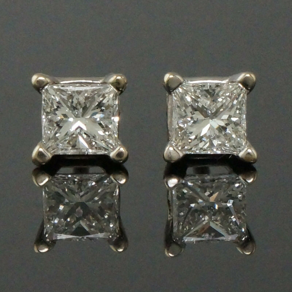 Solid 18K White Gold .56 CTW Princess Diamond Estate Screwback Stud Earrings Olde Towne Jewelers Santa Rosa CA