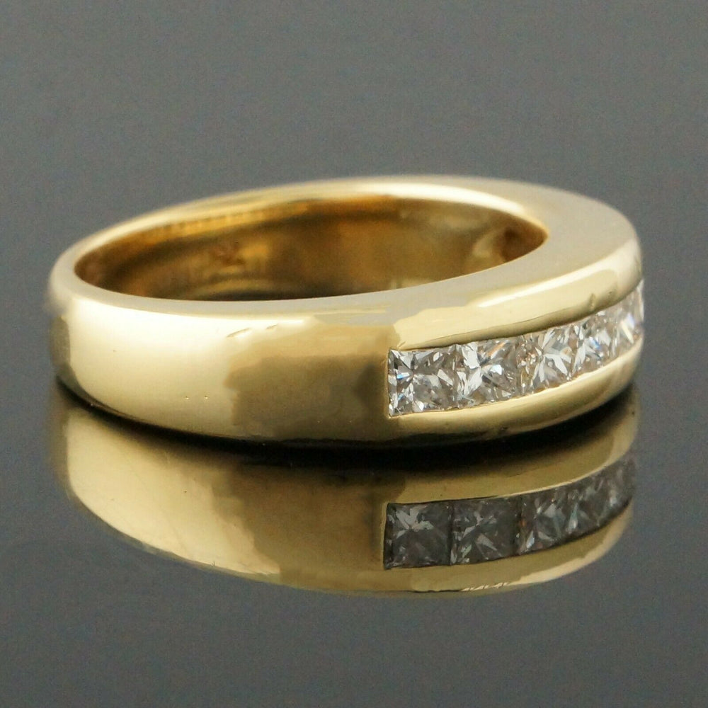 Solid 18K Yellow Gold & .90 CTW Diamond Wedding Band, Estate Anniversary Ring