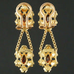 Solid 18K Yellow Gold & 1.80 CTW Garnet Floral Motif Drop Dangle Earrings Olde Towne Jewelers Santa Rosa CA3