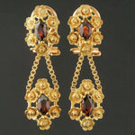 Solid 18K Yellow Gold & 1.80 CTW Garnet Floral Motif Drop Dangle Earrings Olde Towne Jewelers Santa Rosa CA