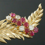 Solid Platinum & 18K Yellow Gold, Ruby & Diamond Pin, Estate Feather Brooch