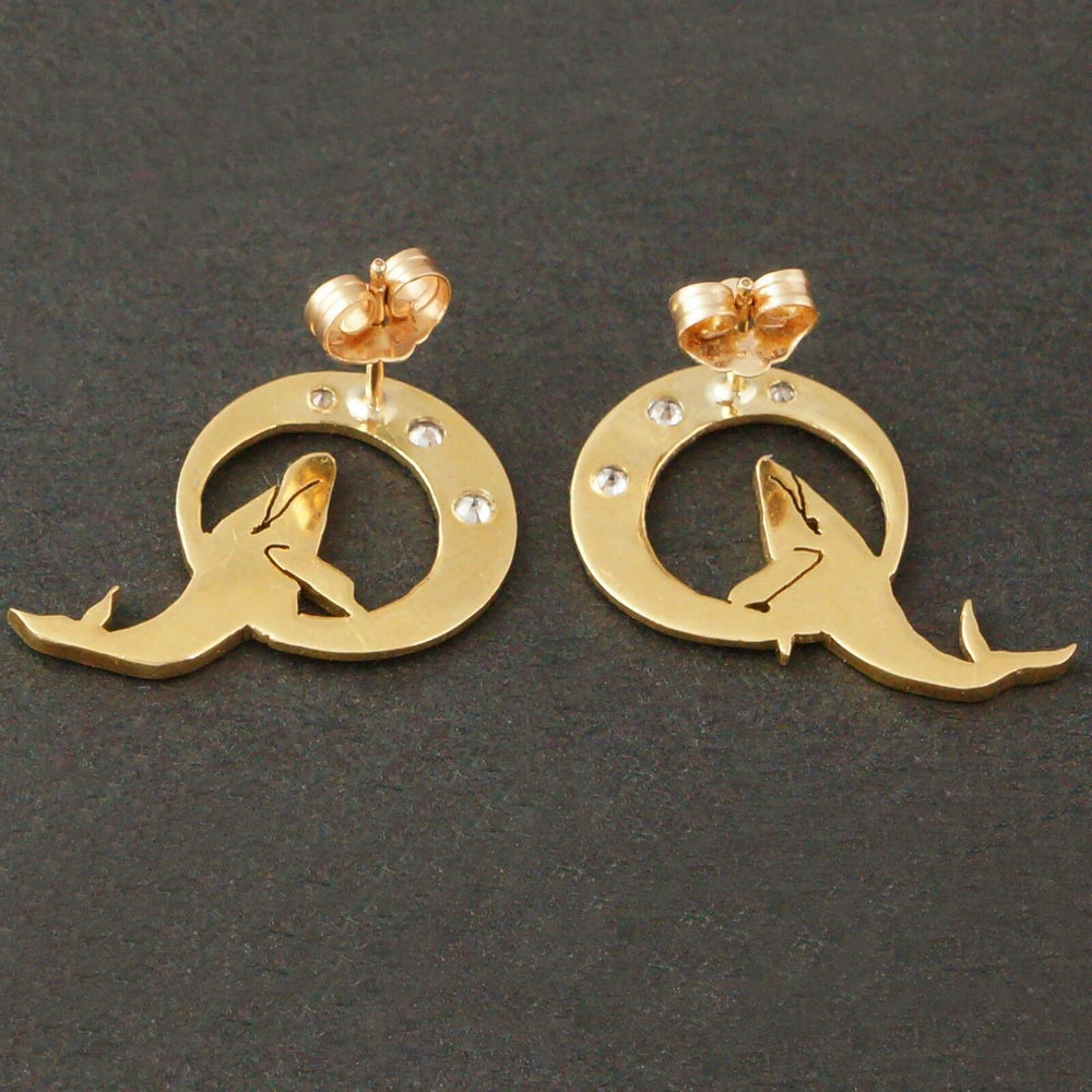 Solid 14K Gold & .15 Ct. Diamond Humpback Whale Estate Earrings