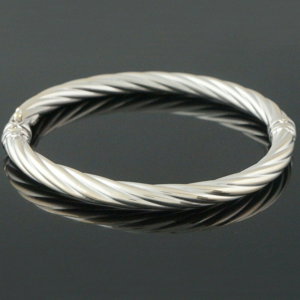 Heavy Solid 14K White Gold, Twisted Cable Hinged Bangle Bracelet, 7 1/8""