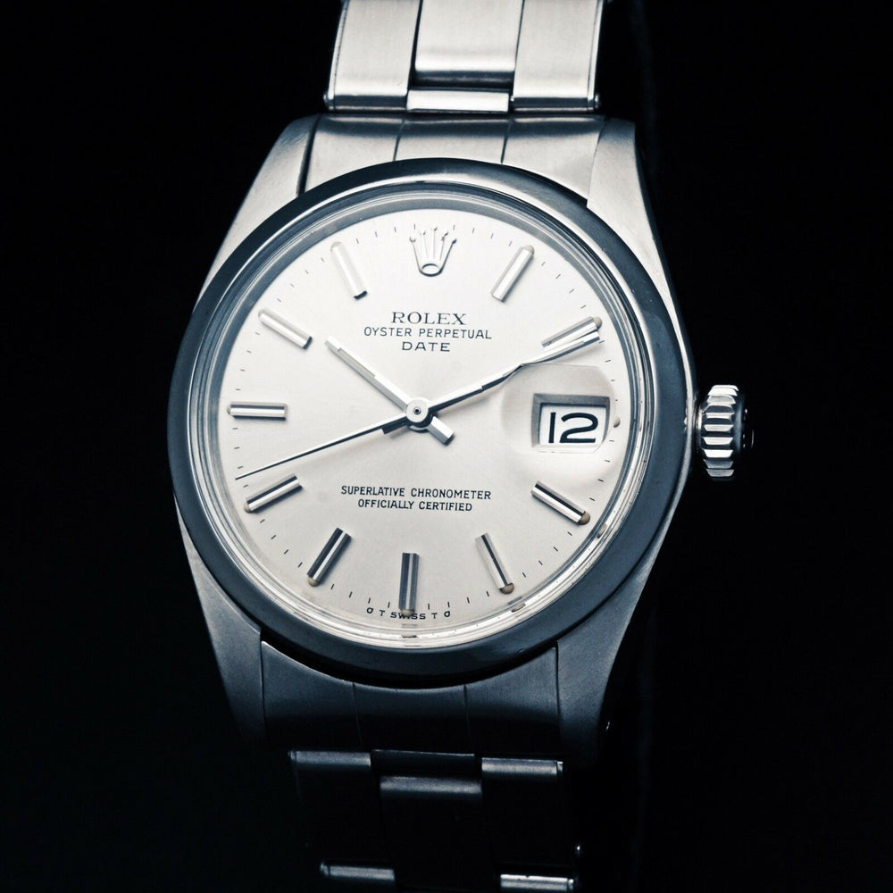 Stunning 1973 Rolex 1500 Oyster Perpetual Date, Silver Sigma Dial, Unpolished Olde Towne Jewelers CA