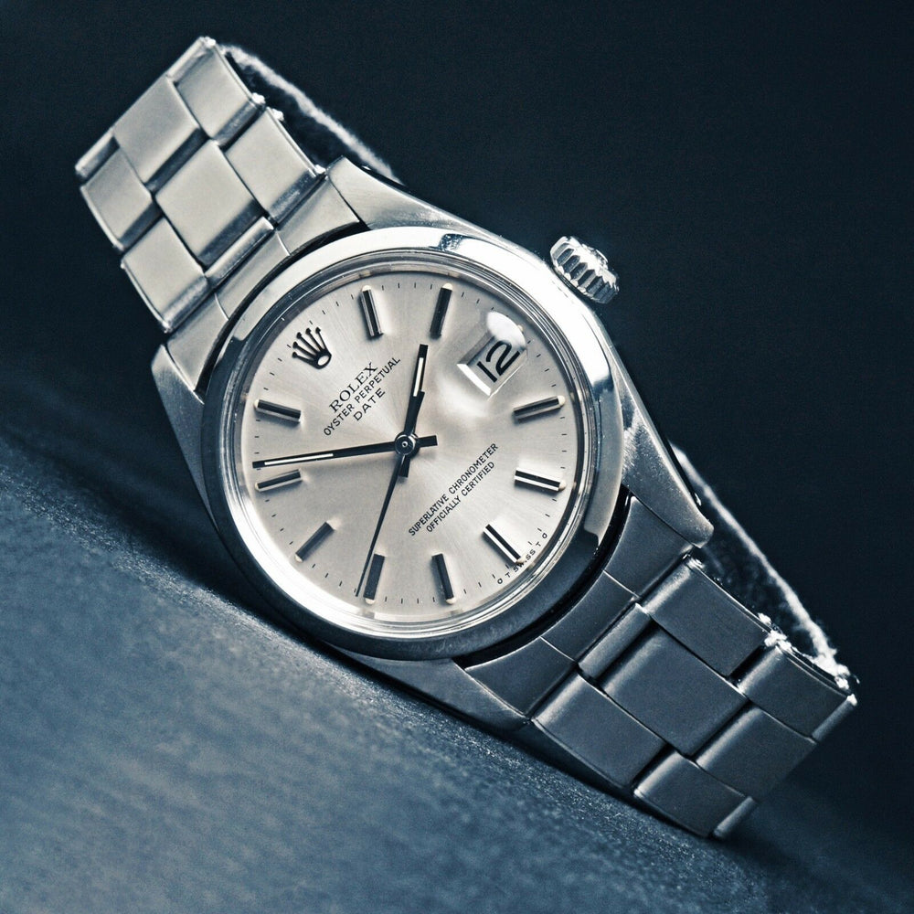 Stunning 1973 Rolex 1500 Oyster Perpetual Date, Silver Sigma Dial, Unpolished