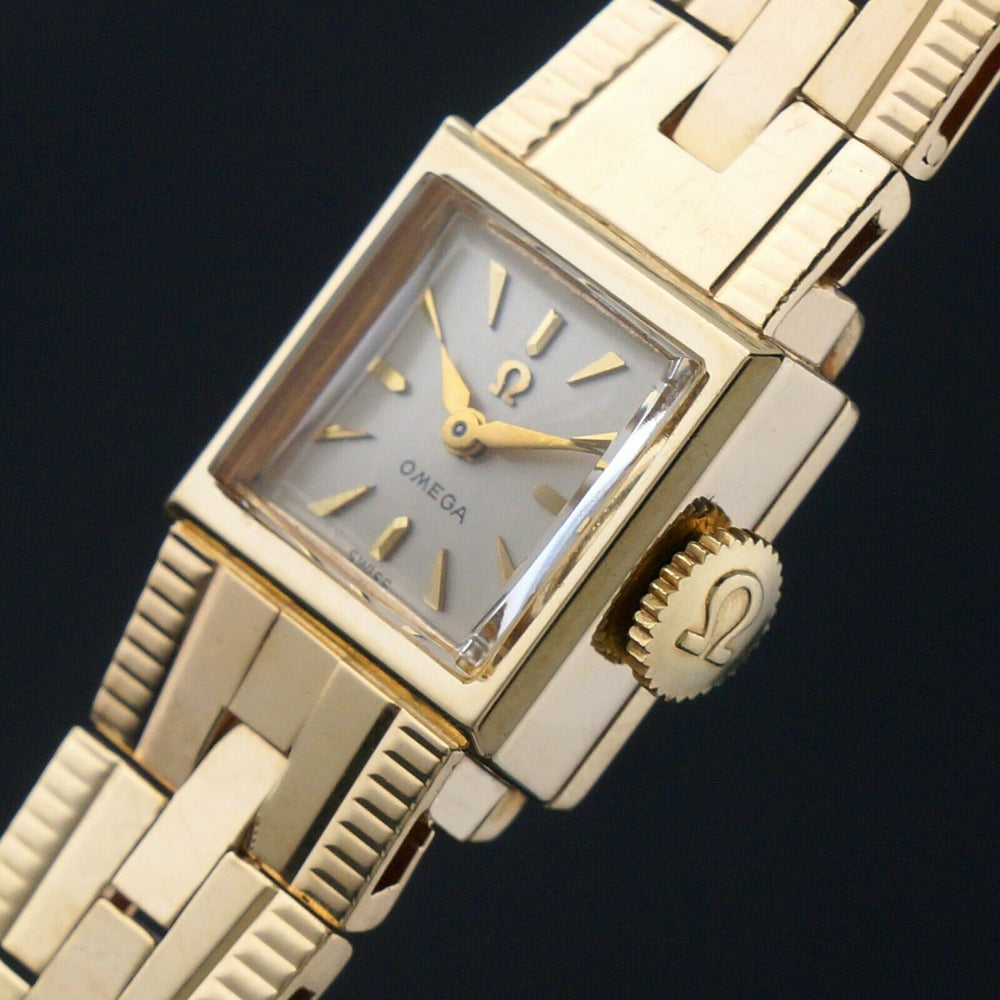 Vintage 1956 Omega Solid 14K Gold Lady's Bracelet Watch, Mint Condition