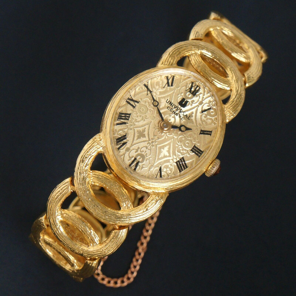 Vintage Universal Geneve Solid 18K Yellow Gold Lady's Bracelet Watch Olde Towne Jewelers Santa Rosa CA