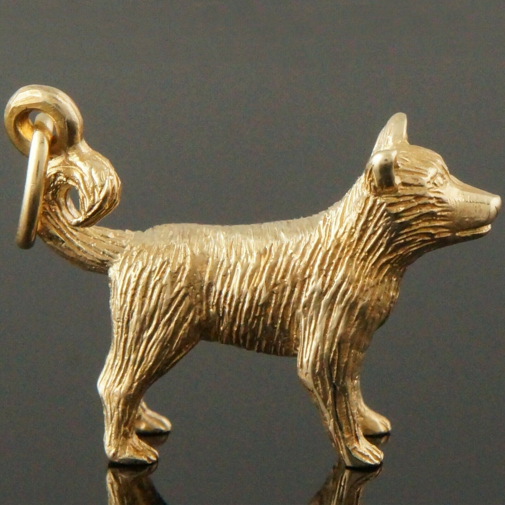 Terrier Estate Charm - Realistic Solid 10K Gold, 3 Dimensional Dog, Terrier Estate Charm, Pendant