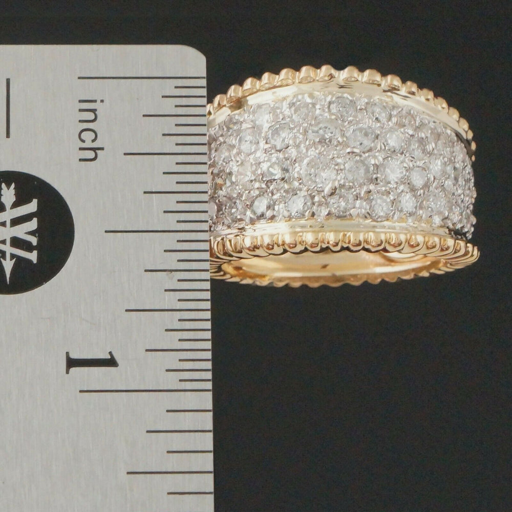 Two Tone Solid 14K Gold & 2.50 CTW Diamond, Cigar Band, Dome Ring