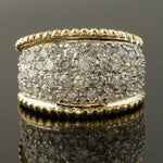 Two Tone Solid 14K Gold & 2.50 CTTW Diamond, Cigar Band, Dome Ring