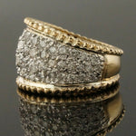 Two Tone Solid 14K Gold & 2.50 CTW Diamond, Cigar Band, Estate Dome Ring