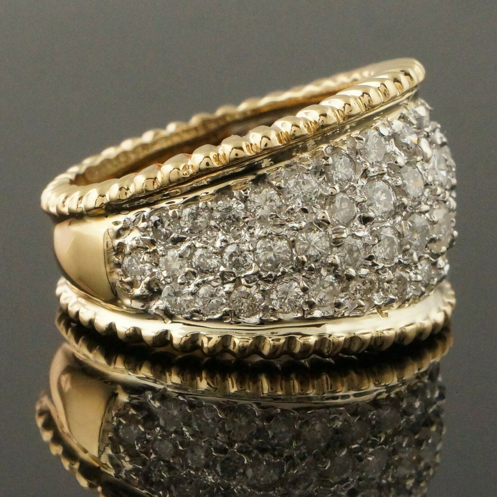 Two Tone 14K Gold & 2.50 CTW Diamond, Cigar Band, Estate Dome Ring