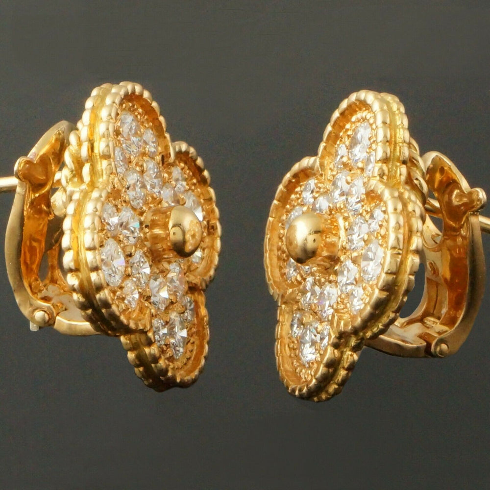 Rare Van Cleef & Arpels, Alhambra, Solid 18K Gold & 2.50 Cttw Diamond Earrings
