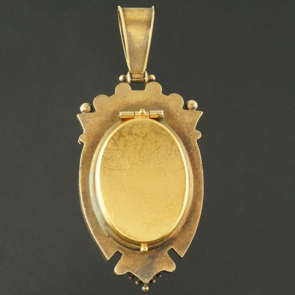 Rare Victorian Solid 14K Multi-Tone Gold & Pearl Floral Mourning Locket, Pendant Olde Towne Jewelers Santa Rosa CA