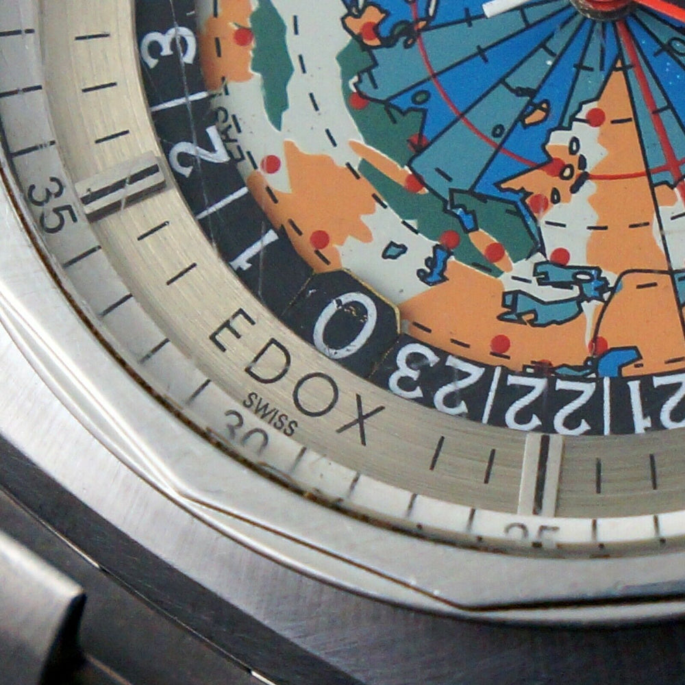 Vintage Edox Geoscope 42 GMT World Time Stainless Steel Man's Watch Santa Rosa CA