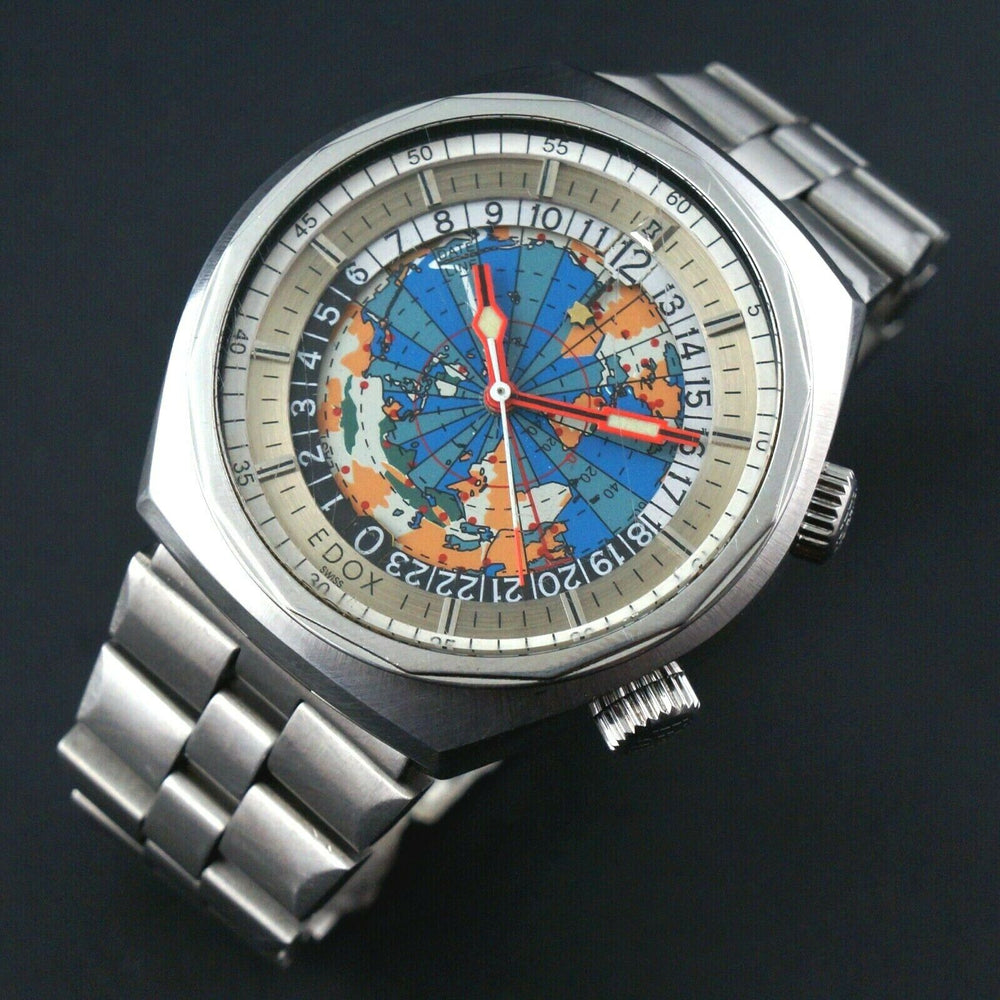 Vintage Edox Geoscope 42 GMT World Time Stainless Steel Man's Watch Olde Towne Jewelers Santa Rosa CA