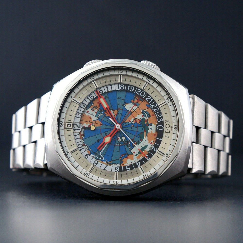 Vintage Edox Geoscope 42 GMT World Time Stainless Steel Man's Watch Olde Towne Jewelers