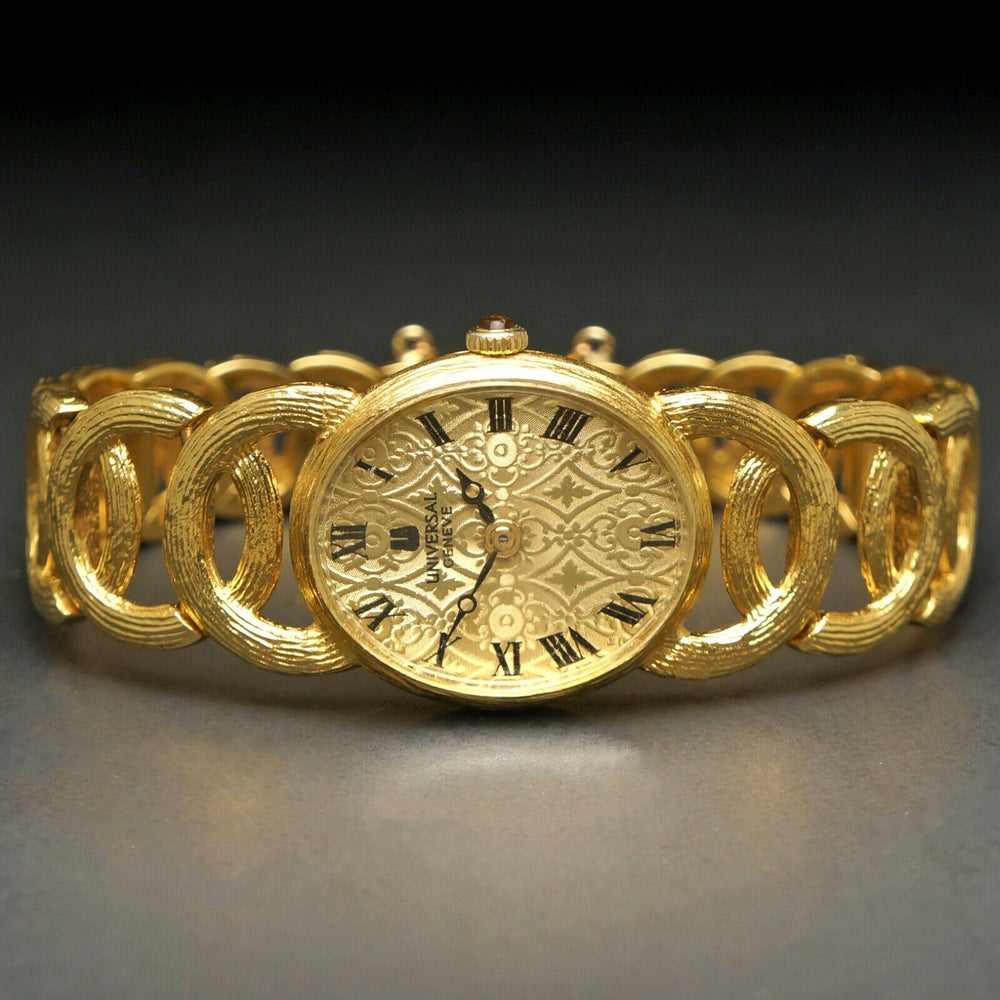 Stunning Vintage Universal Geneve Solid 18K Yellow Gold Lady's Bracelet Watch Santa Rosa CA