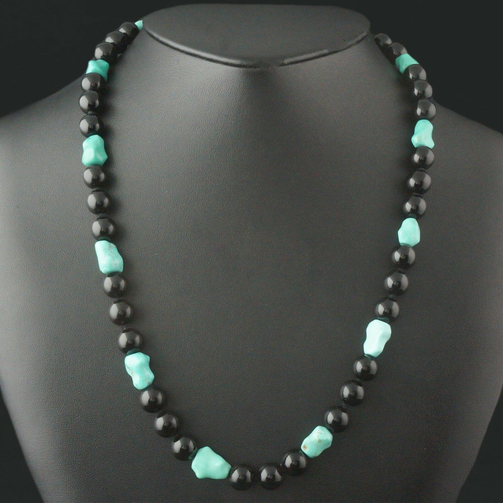 Solid 14K Yellow Gold, Turquoise & Black Jade Bead Estate Necklace