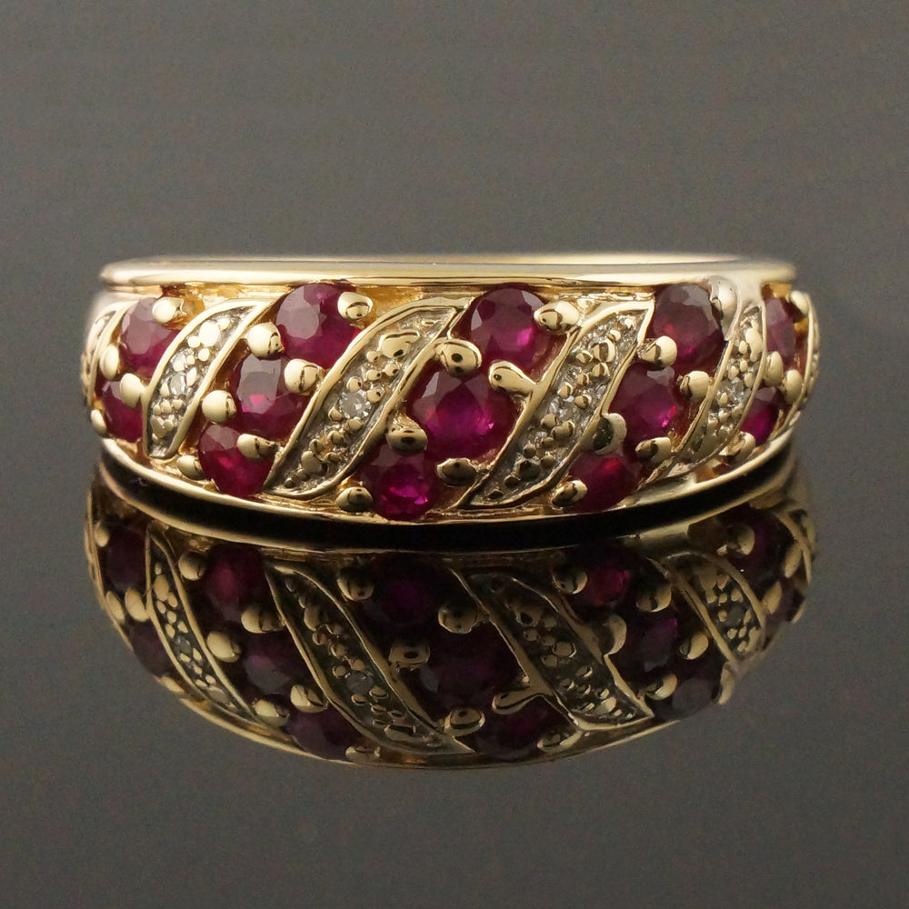 Retro Solid 14K Yellow Gold 1.04 CTTW Ruby & Diamond Cigar Band