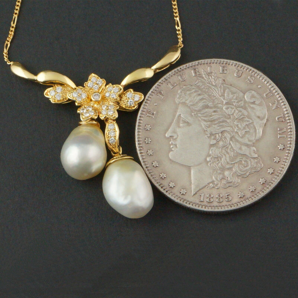 Retro, Solid 18K Yellow Gold, Diamond & Pearl V Shape, Estate Necklace