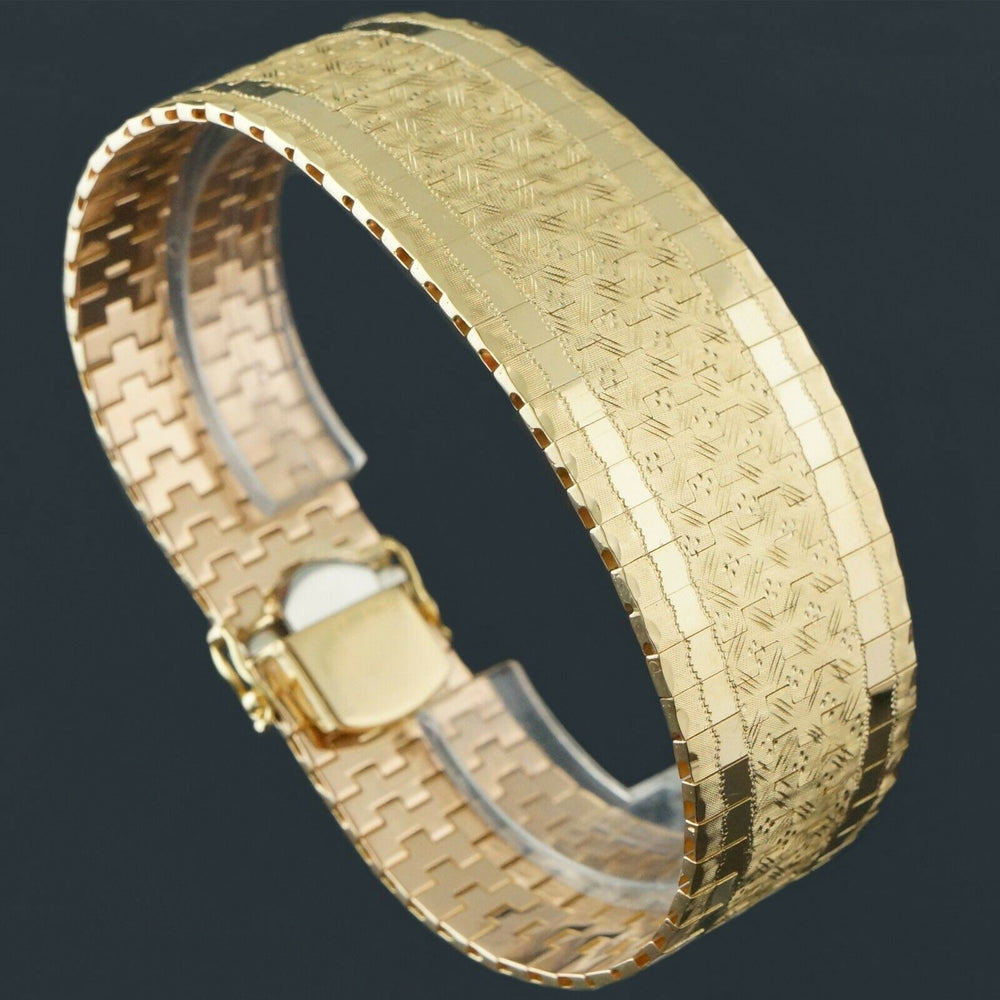 "Heavy Solid 18K Yellow Gold, Tapered Woven Mesh Link 7 1/4"" Estate Bracelet, 52g"