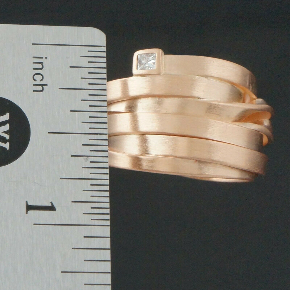 Modernist Heavy Solid 18K Rose Gold & Diamond, Twisted Spiral Overlap Ring
