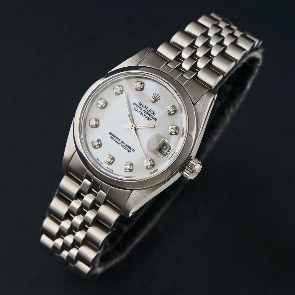 1979 Rolex 6824 31mm Datejust Mother Of Pearl Diamond Dial Midsize Steel Watch