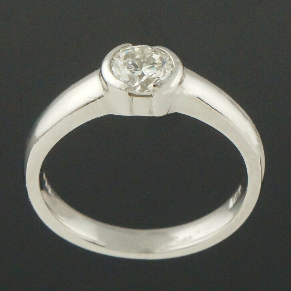 Platinum & .60 Ct Diamond Solitaire Engagement Ring, Estate Wedding Band