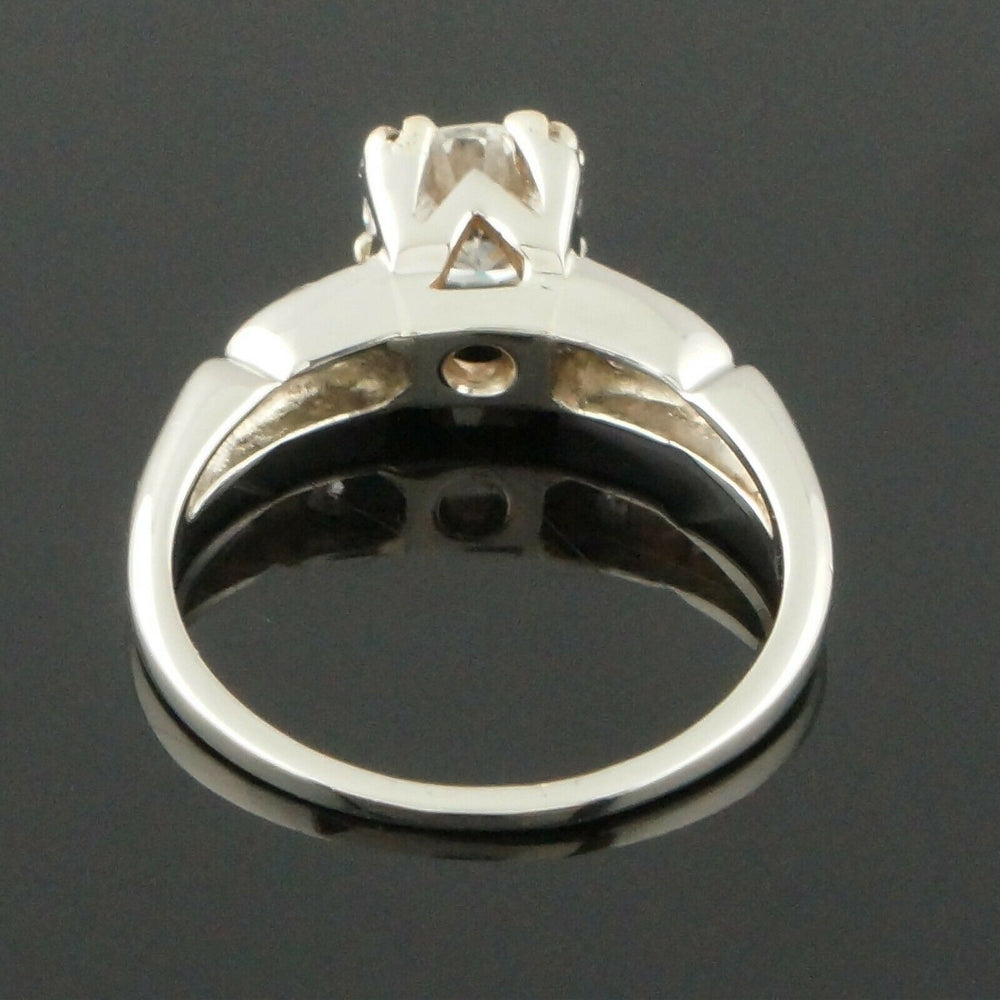 Mid-Century Solid 14K Gold & .76 CTW 3 Stone Diamond Engagement, Wedding Band, Anniversary Ring