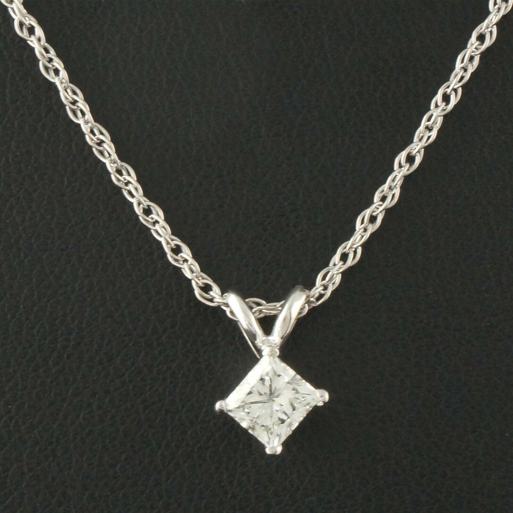 "Solid 14K Gold & .50 Ct. Princess Diamond Solitaire Pendant, 18"" Necklace"