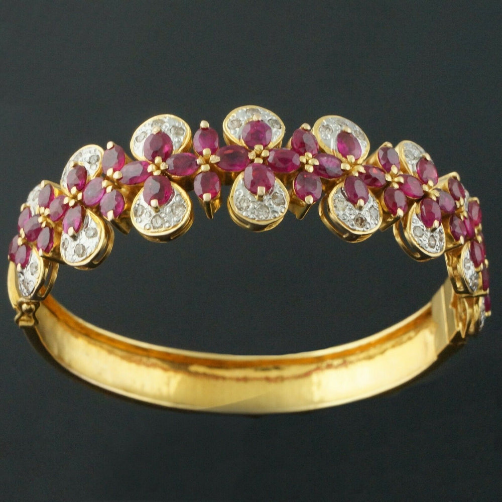 Deco Nouveau Solid 18K Yellow Gold 11.0 CTW Ruby, .96 CTW Diamond Hinged Bangle Bracelet