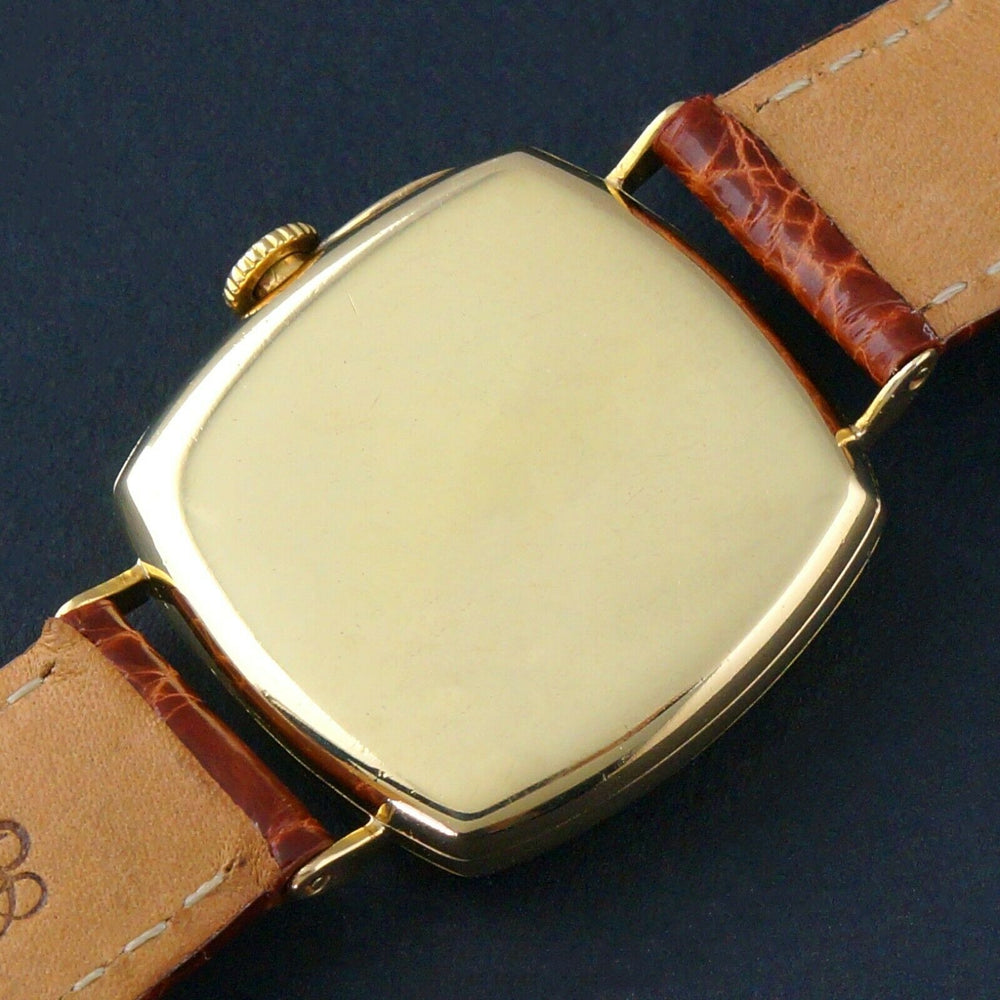 Rare 1920s Patek Philippe Tiffany & Co 18K Gold Enamel Cushion Officer's Watch